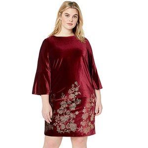 Jessica Howard wine velvet bell sleeve dress